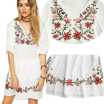 31cd2787ad0b7 WOMEN MEXICAN ETHNIC Embroidered Floral Gypsy Loose Blouse Boho Mini ...
