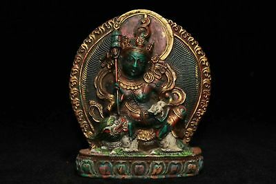 Chinese Antique Tibetan Buddhist Painted Treasure Buddha
