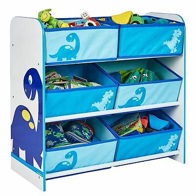 Dinosaurs 6 Bin Storage Unit Childrens Bedroom Storage Toys Games Books New