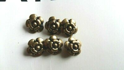 Chanel, France: Vintage Gold  Buttons. Set of 6 flower . Authentic size 16 mm