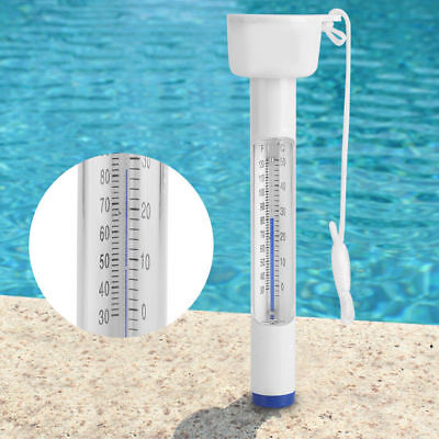 Swimming Pool Spa Hot Tub Floating Water Thermometer String Display Tool White
