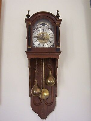 Antique Warmink Wuba Dutch Wall Clock with Moonphase Strikes on Bell