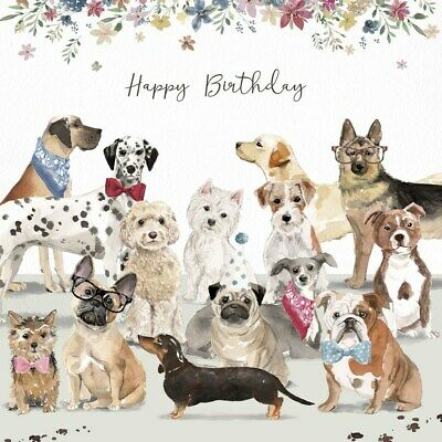 Cockapoo Frenchie Staffy Bulldog Glitter Art Birthday Greeting Card Dog Lovers