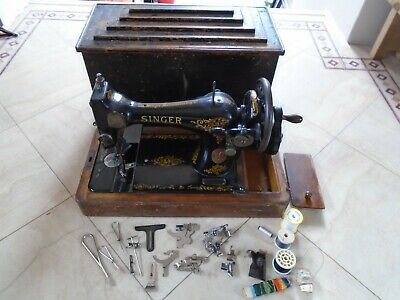 Antique Vintage Cased Hand Crank Singer Sewing Machine With Tools F8415415