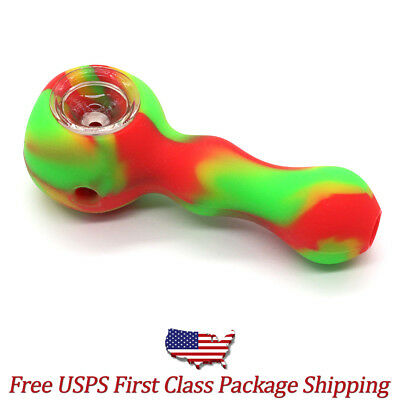"""4"""" Rasta Silicone Tobacco Hand Pipe Glass Bowl Built-In Storage - Free Shipping"""