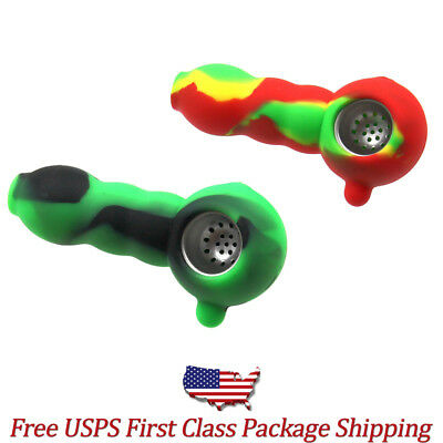 """Fast Free Shipping 4"""" Collectible Silicone Tobacco Spoon Pipe with Metal Bowl"""
