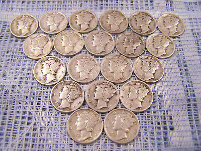 Lot of 20 Mercury Silver Dimes $2.00 Face Value 90% Silver Coins Mostly 40's