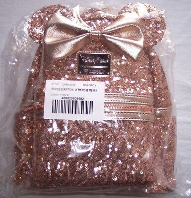 Minnie Mouse Rose Gold Backpack Loungefly Disney Parks Sequins Bow Smooth Backed