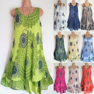 UK Plus Size Womens Boho Floral Sundress Ladies Casual Summer Beach Party Dress