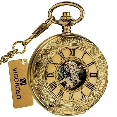 Antique Vintage Mechanical Pocket Watch Hand Wind Double Hunter Gold Silver Mens