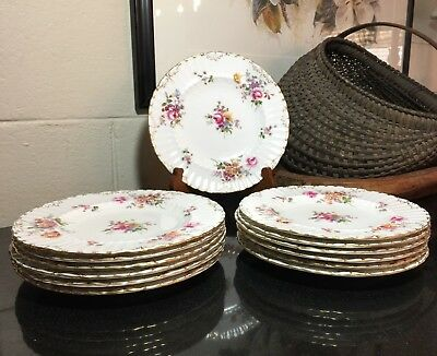 """Royal Crown Derby Burford Shape 9"""" Floral Derby Posies Luncheon Plate - 7 Avail."""