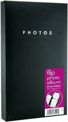 "BLACK PHOTO FLIP ALBUM 40 POCKETS HOLDS 80 6""x4"" PHOTOS"