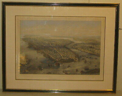 Antique 'View of NEW YORK & BROOKLYN' Currier & Ives School BIRDS EYE Lithograph