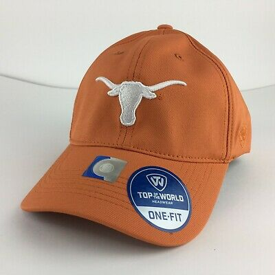 brand new 15641 63c79 Texas Longhorns White Logo Cap One-Fit Stretch Polyester Hat Color Orange