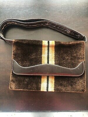 Leather Velvet Brown Purse Gold Cream Striped Mr D Lovely! VTG Italian