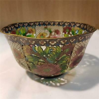 Vintage Chinese Plique a Jour Enamelled Glass  Bowl - flower design.