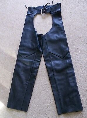 Vintage Indian Motorcycle brand Women's Chaps MEDIUM Black Leather M Made in USA