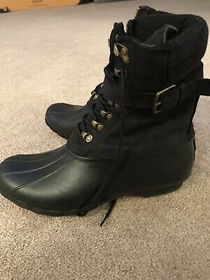 376628cfe51f Sperry Top-Sider Women s Saltwater Misty WP Black Leather Duck Boot Sz 12