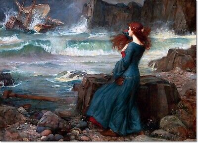 Stretched Canvas - Miranda the Tempest Painting by John Waterhouse Reproduction