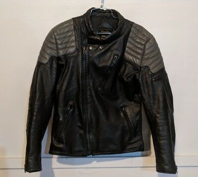 Yamaha Profile Vintage Black Leather Motorcycle Jacket Size 42 Men's
