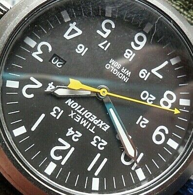 Men's Timex Expedition WR 50M Indiglo 24 Hour Military Watch w/ Olive Strap
