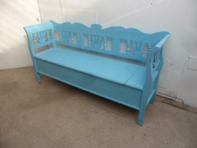 A Pretty Sky Blue Antique/Old Pine 3 Seater Box Settle/Bench
