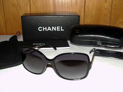 8aa4c9f254b35 NEW AUTH CHANEL 5210-Q Black Leather Gold Chain Arms Sunglasses ...