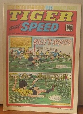 TIGER and SPEED comic 8th Nov 1980 Johnny Cougar Hotshot Hamish Billy's Boots