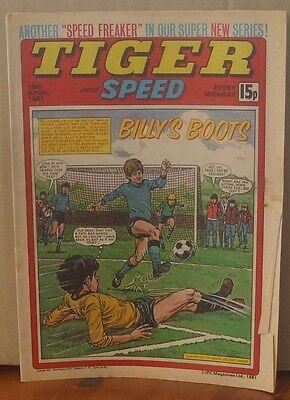 TIGER and SPEED comic 18th April 1981 Johnny Cougar Hotshot Hamish Billy's Boots