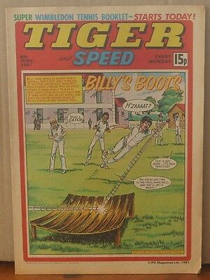 TIGER and SPEED comic 6th June 1981 Johnny Cougar Hotshot Hamish Billy's Boots