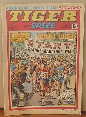 TIGER and SPEED comic 29th Aug 1981 Johnny Cougar Hotshot Hamish Billy's Boots
