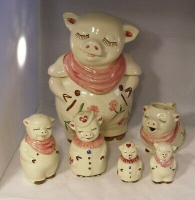Shawnee Smiley Pig Cookie Jar, Creamer Table Salt & Pepper, Master Salt & Pepper