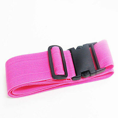 Pink Travel Luggage Suitcase Baggage Bag Backpack Cross Strap Belt PlasticClasp
