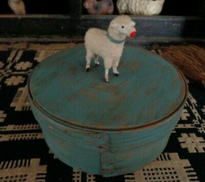 Antique Primitive worn blue paint wood Pantry Box Old early shaker firkin