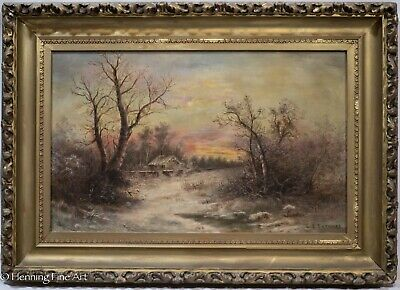 Antique Oil Painting of Landscape at Sunset with Cottage Signed & Framed, NICE!
