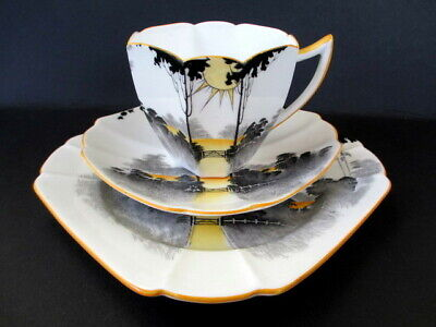 Art Deco / Vintage China Tea Set Trio.Shelley Queen Anne.Tall Trees and Sunrise.