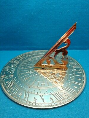 """Vintage Virginia Metalcrafters~11.25"""" Sundial~Solid Brass~ Compass Rose"""