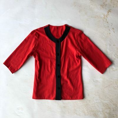 Vintage 80s C & A red black top blouse small UK8 UK10
