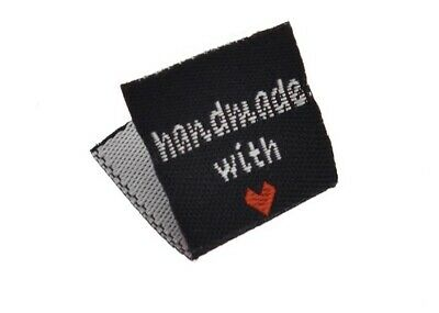 "20 Fabric sew on clothes labels ""Handmade With Love"" 2x2cm Black With Red Heart"