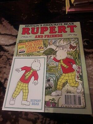RUPERT BEAR AND FRIENDS comic No 17, Dated 27th June 1992 With free sticker