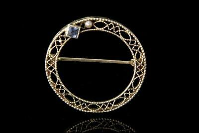 Antique Edwardian Blue Sapphire 14K White Gold Filigree Pin Brooch A807-12
