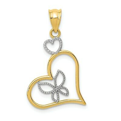 14k Yellow Gold And Rhodium Tree Of Life With Hearts Pendant 23x19mm 1.27gr