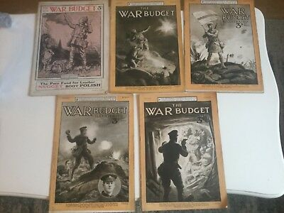5 copy`s of ww1 the war budget illustrated IV = 9,10,11,13 & VII = 1  VERY GOOD