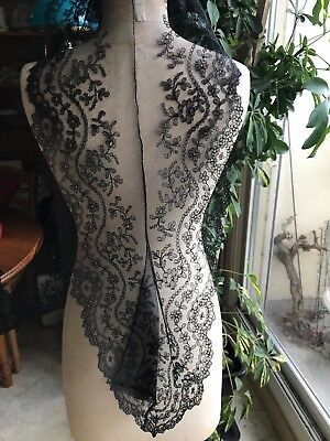 """Beautiful handmade CHANTILLY LACE edging 76"""" by 6 1/2"""" Garlands of flowers"""
