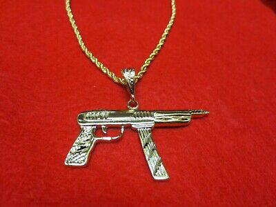 "14 Kt Gold Plated Machine Gun Charm 2"" By 2""bling  With 16 Inch 3Mm Rope-4804"