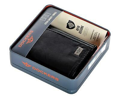 Dockers Mens Leather Trifold Wallet RFID Extra Capacity Slim Black