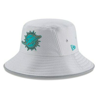 new styles 8c1d5 0a7ea New Era Miami Dolphins Youth Gray 2018 Training Camp Official Bucket Hat