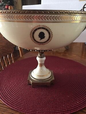 Antique French Gilt Ormolu Porcelain Compote Bronze Mount