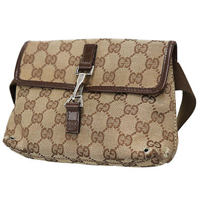 eae890f0f048 GUCCI GG Canvas Fanny Pack Waist Pouch Bag Brown Italy Vintage Authentic   R827 Z