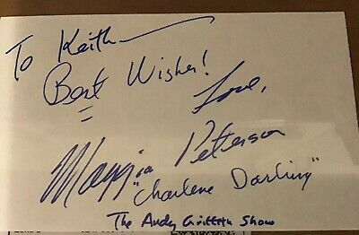 Maggie Peterson Actress The Andy Griffith Show Signed 3x5 Index Card Adds Say